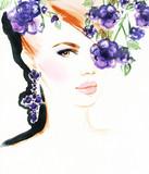 Piękny portret kobiety Akwarela ilustracja moda streszczenie - 116954284