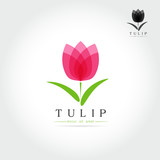 Simple Tulip bud with leaves design