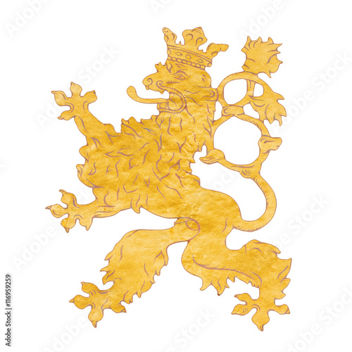 lion symbol of the Czech Republic on an isolated background Poster