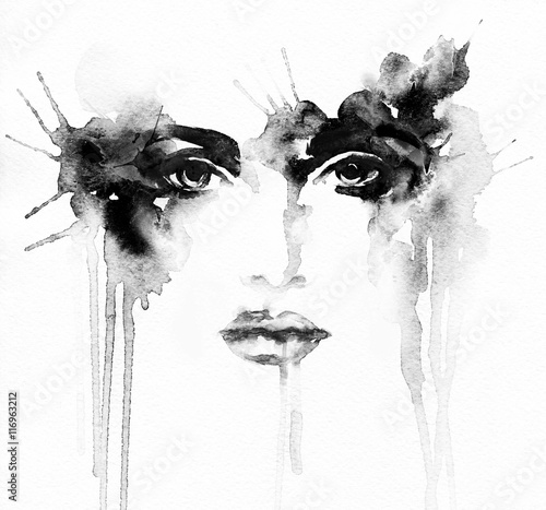 Wall Murals Watercolor Face Beautiful woman portrait. Abstract fashion watercolor illustration