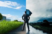 ビジネスマン,晴れと雨,違い