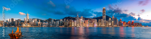 Photo Stands Asian Famous Place Hong Kong Victoria Harbor in magic hour