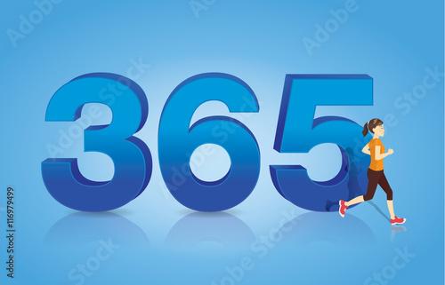 Fényképezés  Woman jogging through the 365 symbolism