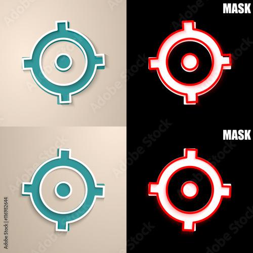 Deurstickers Schepselen papierowa ikona z cieniem