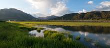 Snake River Sunrise Reflection Along Grassy Shoreline At Alpine Wyoming US