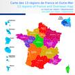 Carte des 13 régions de France et outre-mer colorée avec le nom des régions, chef lieux de région et numéros des départements Un tracé autonome par région / département