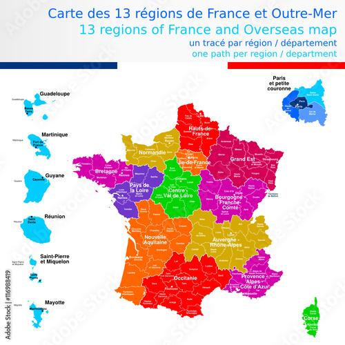 Carte des 13 régions de France et outre-mer colorée avec le nom des régions, des départements et ...