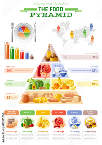 Vector illustration of food pyramid infographics with abstract ...