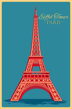 Vintage Poster Of Eiffel Tower...