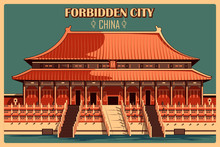 Vintage Poster Of Forbidden City In Beijing Famous Monument In China