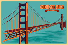 Vintage Poster Of Golden Gate Bridge In California Famous Monument In United States