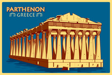 Vintage Poster Of Parthenon In Athens Famous Monument InGreece