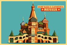 Vintage Poster Of Saint Basil's Cathedral In Moscow Famous Monument In Russia