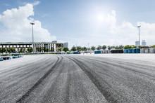 Asphalt Road Vehicle Track In Outdoor Circuit
