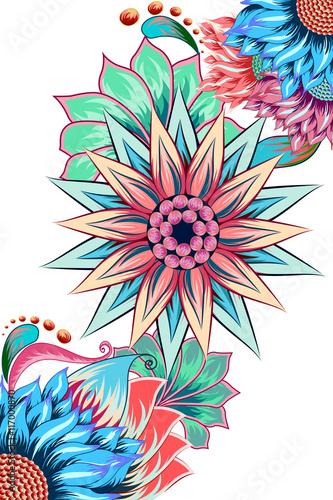Poster Grafische Prints Decorated flower background