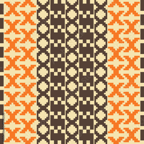 Poster Pixel Seamless knitted pattern in orange, brown, sand colors