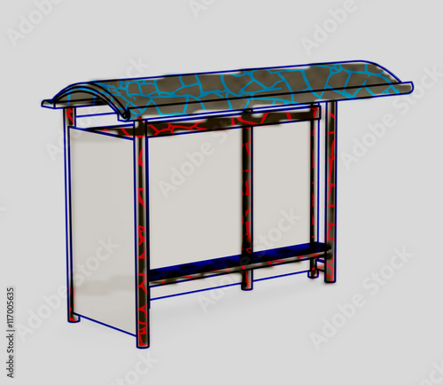 Isometric drawing surround bus stop painted painted texture