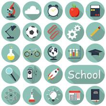 School Icons Set, Flat Design,...