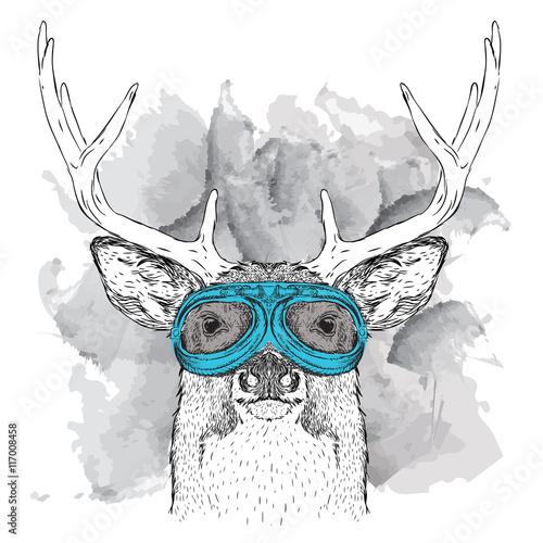 Plakat na zamówienie Portret jelenia w goglach motocyklisty