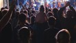 Unrecognizable people at the concert. Timelapse