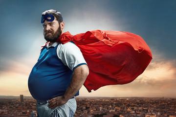 Funny portrait of a superhero
