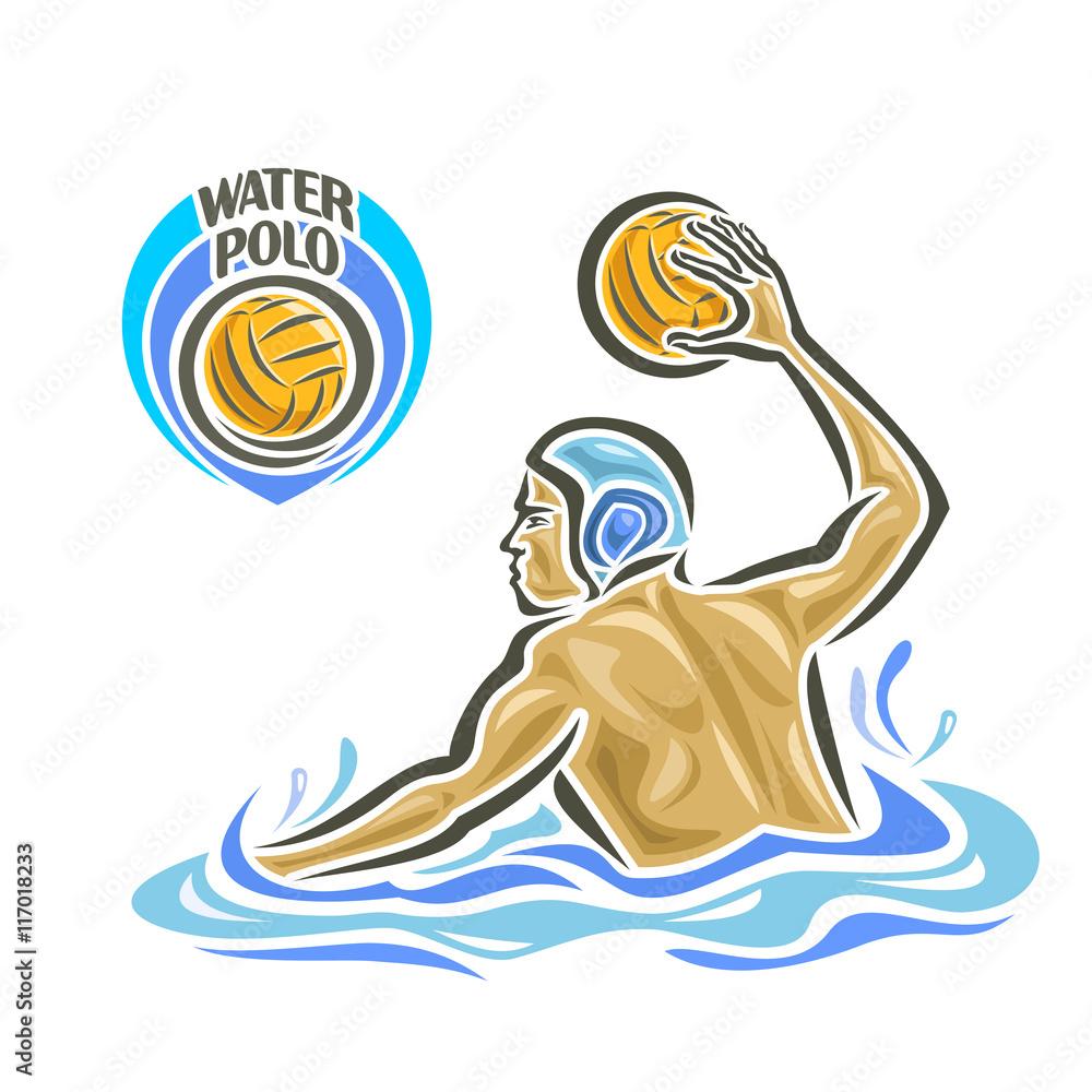 Fotografía Vector Abstract Logo For Water Polo Player Throw Ball In