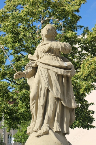 Baroque statue of the Virgin Mary on the Balthasar Neumann Square in Werneck, town in Franconia, Germany Canvas Print