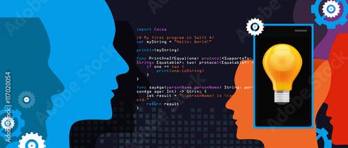 mobile application programming language code smart phone head and idea Wallpaper Mural