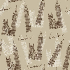 Tapeta Vintage style pattern with Big Ben (Elizabeth Tower), London, En