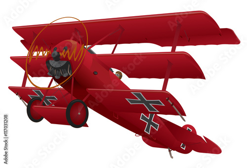 WWI Triplane Warbird Vector Illustration Canvas Print
