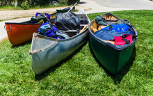 Ready For N Adventure: Three Canoes  Filled With  Gear
