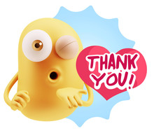 3d Rendering. Love Emoticon Face Blowing A Kiss Saying Thank You