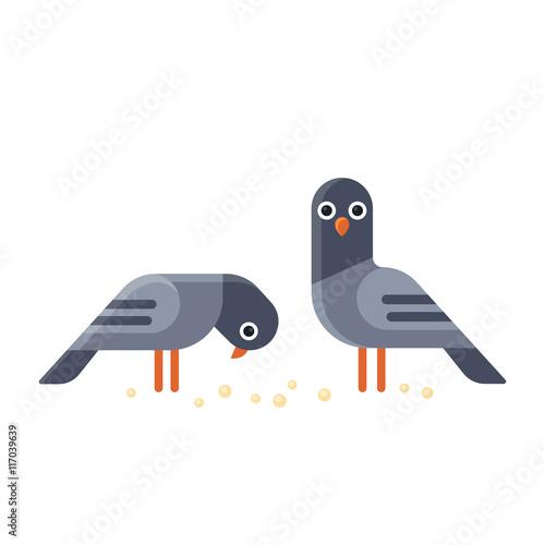 Cartoon pigeons illustration. Wall mural