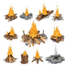 Bonfires Isolated Vector Illus...