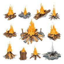 Bonfires Isolated Vector Illus...