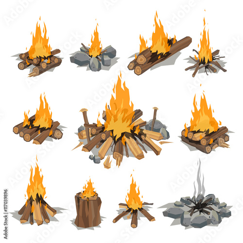 Obraz na plátně Bonfires isolated vector illustration.