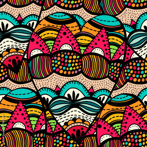 Cotton fabric Original drawing tribal dodle spiral