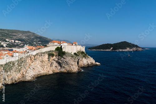 Overlooking the fort walls of Old Town, Dubrovnik Canvas Print