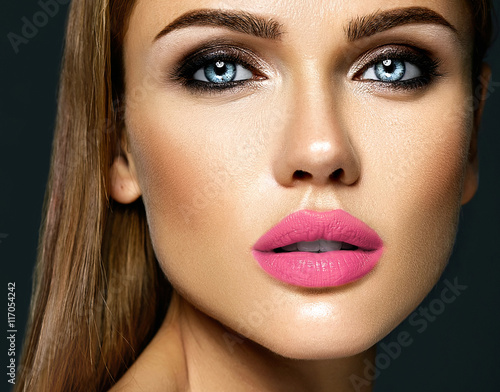 sensual glamour portrait of beautiful woman model lady with fresh daily makeup w Canvas Print