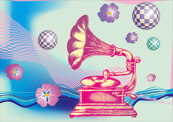 Fototapeta Do pokoju młodzieżowego Decorative composition with hand drawing Gramophone. engraving style. vector illustration.