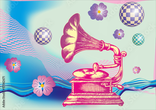 Decorative composition with hand drawing Gramophone. engraving style. vector illustration. - 117062671