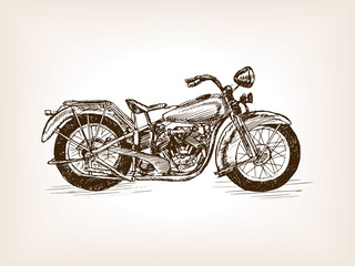 Fototapeta Retro motorcycle hand drawn sketch vector