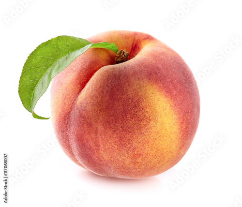 One peach with leaf