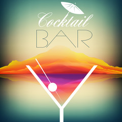 Panel Szklany Podświetlane Koktajle Simple Cocktail Poster Design - Vector Illustration
