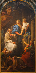 FototapetaBRESCIA, ITALY - MAY 22, 2016: The painting of Madonna with the Child and St. John the Nepomuk in church Chiesa di Santa Maria della Pace by Pompeo Batoni (1746)