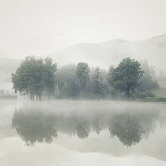 Fototapeta Minimalistyczny Mist on a lake at dawn with trees and mountains reflected in the