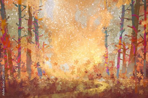 ścieżka w lesie jesienią, malarstwo pejzażowe, ilustracja