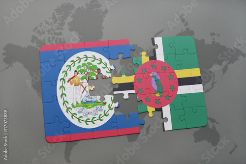 Printed kitchen splashbacks Fairytale World puzzle with the national flag of belize and dominica on a world map background.