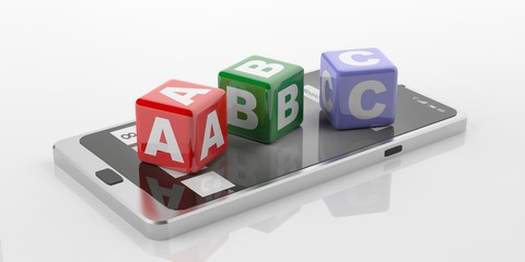 3d rendering abc on a tablet, white background