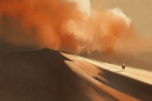 Sandstorm In Desert And Hiking...